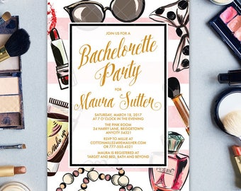 Bachelorette Party Invitation with MakeUp Tools Cosmetics, Fashion Show Party, Primp and Prettify Makeover Party Printable Party Invitation