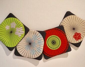 Japanese Parasols - Set of 4 Fabric Drink Coasters