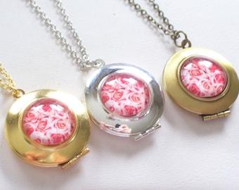 Pink Roses Locket, Floral Locket, Pink Flower Locket, Bridesmaid Locket, Round Locket, Photo Locket Pendant Necklace, Floral Jewelry