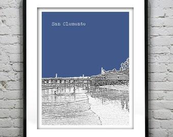 San Clemente California Skyline Poster Print Art California CA