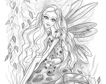 Adult Coloring Page - Grayscale Coloring Page - Printable Coloring Page - Digital Download - Fantasy Art - Mushroom Fairy by Leslie Mehl Art