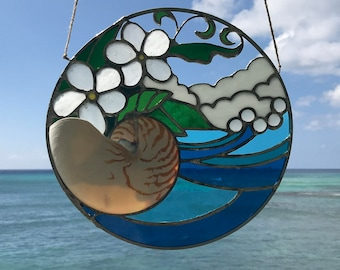Plumeria & Nautilus Stained Glass Window