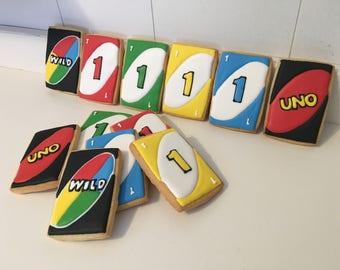 Uno Card cookies - 1 dozen