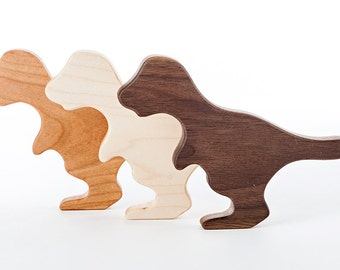 T-rex Dinosaur Wood Rattle // An Eco-Friendly Safe Baby Toy & Teether // Natural Wood Rattle Makes the Perfect Personalized Baby Shower Gift