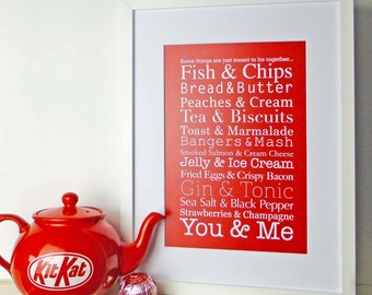 Perfect food pairs print | Typographic artwork | Ideal for a Wedding or Anniversary gift | Choice of bold colours | Modern kitchen décor |