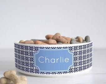 Weave Print Pet Bowl - Dog Bowl - Personalised dog bowl - custom cat bowl - ceramic dog bowl - personalized pets - pet gift - P14