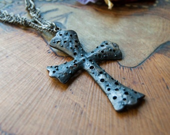 Large Cross Necklace / Gothic Cross with Multi Braided Chain / Medieval Style Cross