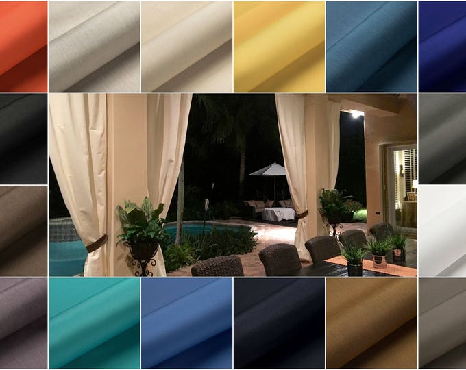 Featured listing image: Designer Custom Outdoor Stripe and Solid Patio Drapes - You pick the style and colors