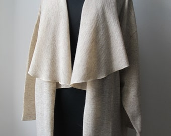 Beige Drape Front Long Cardigan OS