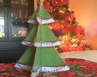Christmas Tree Centerpiece - Stained Glass Festive Tree Decoration Ornament Suncatcher