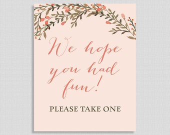 We Hope You Had Fun Please Take One Favor Sign, Peach Wreath Shower Sign, Boho, INSTANT PRINTABLE