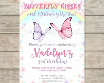 Butterflies Birthday Party Invitation, Magical Whimsical Butterfly invitation, Rainbow and Sparkles Butterfly Invites, Digital Or Printed