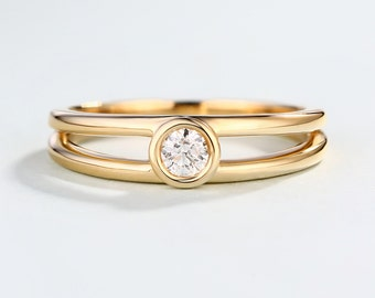 Solid 14K Gold Dainty Minimalist engagement ring Simple Delicate Round diamond wedding bezel set Double Promise Stacking Anniversary ring