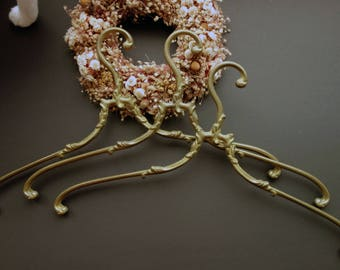 Antique Brass clothes Hanger Vintage coat Hanger French wedding dress hanger  3x  1,010