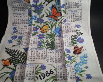 Linen Vintage Tea Towel 1986 Calendar Butterflies and flowers