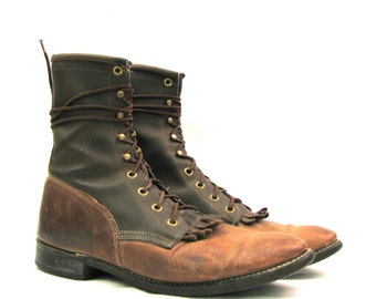 ladies sz 10 two-tone ROPER combat grunge granny boots MADE IN THE USA