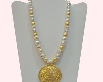 Stunning  925 Sterling Silver Pearl Beaded Hand Crafted Gold Plated Pendant Necklace