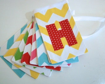 Chevron Happy Birthday Banner Red, Aqua, Yellow, Pink, and Lime Green  for boys and girls