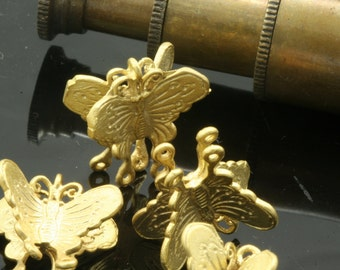 4 pcs 17 mm gold plated brass butterfly fairy finding charm pendant connector 768