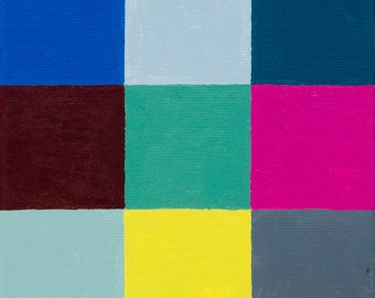 Original Small Canvas Painting Abstract in Blue, Grey, Pink and Green 6x6