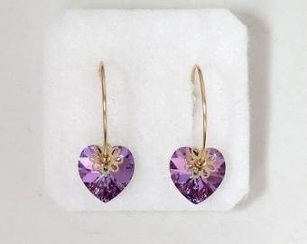 Purple crystal earrings, Heart earrings, Hoop earrings gold, Swarovski crystal earrings, Birthday gifts for girls, Purple swarovski earrings