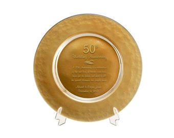 Engraved 50th Gold Glass Wedding Anniversary Plate