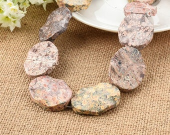 Leopard Skin Jasper Wavy Gemstone Beads 30*40mm