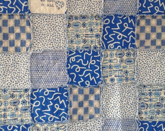 Rag Quilt Throw, Lap Quilt, Family Quilt, Quilt For Sale, Rag Quilt, Homemade Quilt, Blue Quilt, Embroidered Blanket, Rag Quilt For Sale