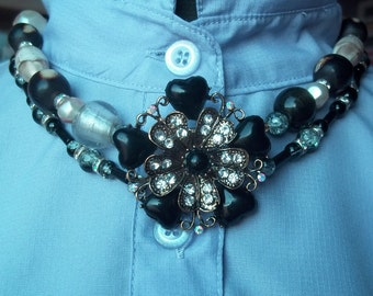 Upcycled Beaded Choker Necklace Black and White