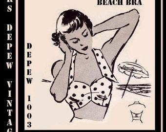 Vintage Sewing Pattern 1950's Beach Bra Halter Top Multi Size Depew 1003 -INSTANT DOWNLOAD-