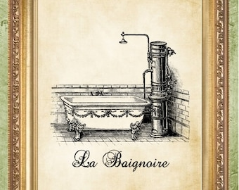 French Bathroom Art Print Bathroom Decor