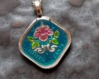 Bahamas - Hibiscus Coin Pendant - Hand Painted