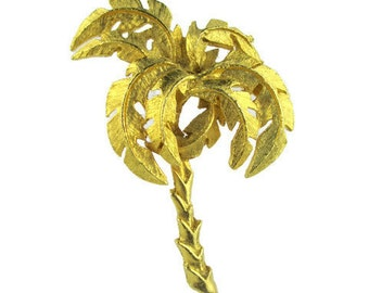 Vintage Date Palm Tree Gold Tone Pin Brooch