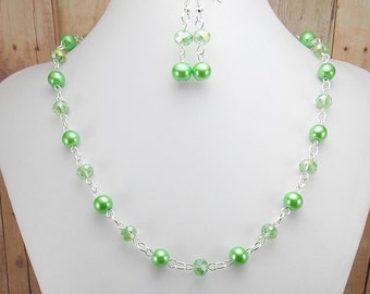 Necklace and Earring Set - Bright Mint Green Glass Pearls with Aurora Borealis Color Match Glass Beads - Clover