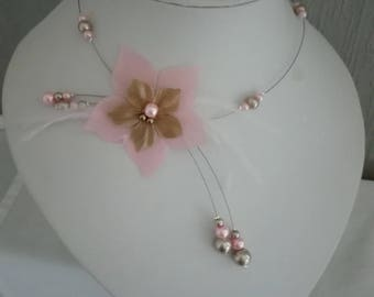 bride bridal bridesmaid Silk Flower necklace pink / taupe cappuccino brown feathers evening, party, ceremony