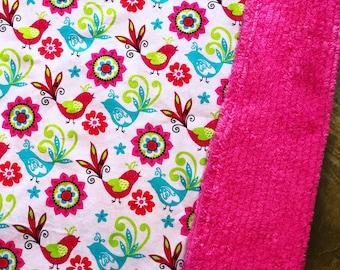 Baby Blanket  - Purple Birds - Designer Baby Blanket  - Pink Chenille Backing