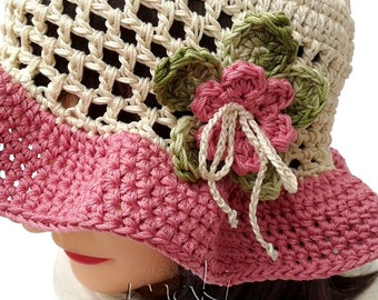 Crochet pattern - Lea summer hat! Toddler, child and adult size. Permission to sell finished items. Pattern No. 142