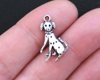10 Dalmatian Dog Charms Antique  Silver Tone - SC2815