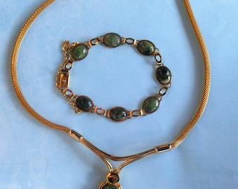 SALE!!  Vintage Jade Necklace and Braclet Gold Mesh set Mid-Century