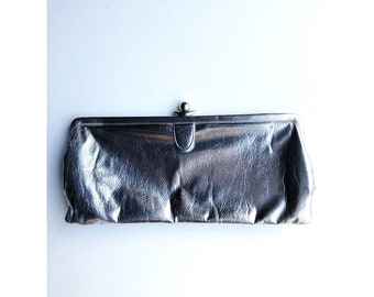 Silver Metallic Foil Clutch Handbag Vintage Formal Purse Evening Bag