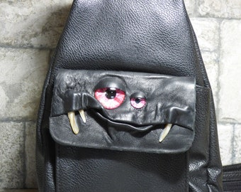 Leather Backpack Woman Purse With Face Monster Black 430