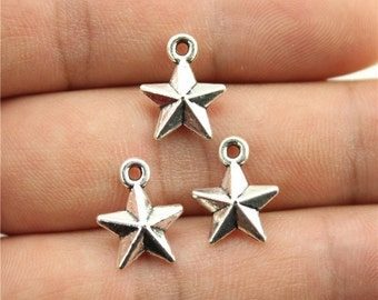 15 Star Charms, Antique Silver Tone Charms, (1O-34)