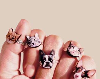 Custom your pet ring Delicate pet ring Sterling Silver Ring Personalized Pet Ring Custom Photo Jewelry Animal ring Dog ring Cat ring