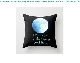 Blue Moon Full Moon Pillow cover Love You To the Moon Pillow Celestial Super Moon Phase Photo Pillow