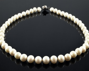 High Grade Single Strand White Pearl Necklace, Genuine 9-10mm Freshwater Cultured Pearls, Hand Strung to Order