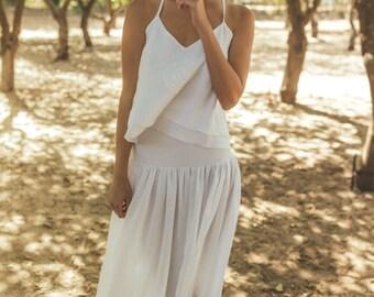 Two parts wedding dress / Simple wedding dress for summer / Boho wedding dress for summer / Summer weddnig dress / hibiscus mandala clematis