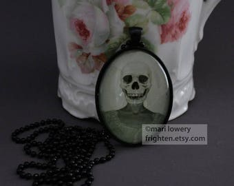 Halloween Jewelry, Skull Art Pendant, Creepy Necklace, Black and White, Dark Jewelry with Long Chain and Box, frighten
