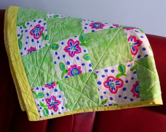 Handmade quilt double bed –Blanket to go for a picnic - Quilt handmade - Patchwork -  66x83in – 168x210cm  - CO04