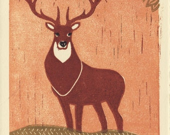 ELK - Original Hand Pulled Linocut Illustration Art Print 5 x 7, Woodland, Brown, Antlers, Rustic