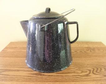 Blue and White Granite Coffee Pot